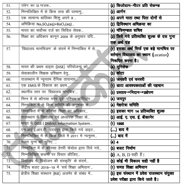 RPSC 1st Grade Answer Key January 2020 Download