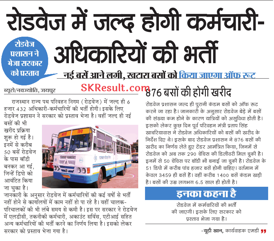 Rajasthan Roadways Bharti 2020 : Rajasthan roadways vacancy 2019 For Driver & Conductor