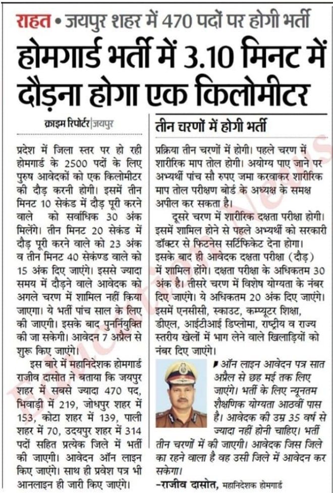 Rajasthan Home Guard Bharti 2020 Online form for 2500 Home Guard Vacancy