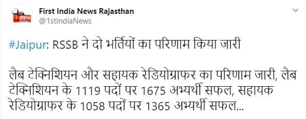 Rajasthan Radiographer Recruitment 2020 for 1058 Post Vacancy