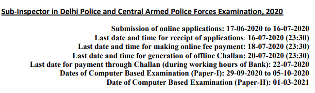 SSC CPO SI 2020 Notification Apply Online Form, Exam Date, Eligibility, Syllabus