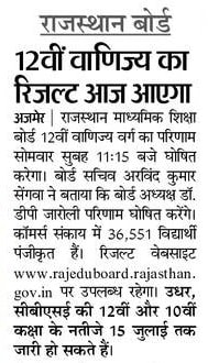 Rajasthan Board 12th Commerce Result 2020 Check RBSE 12th Commerce Results