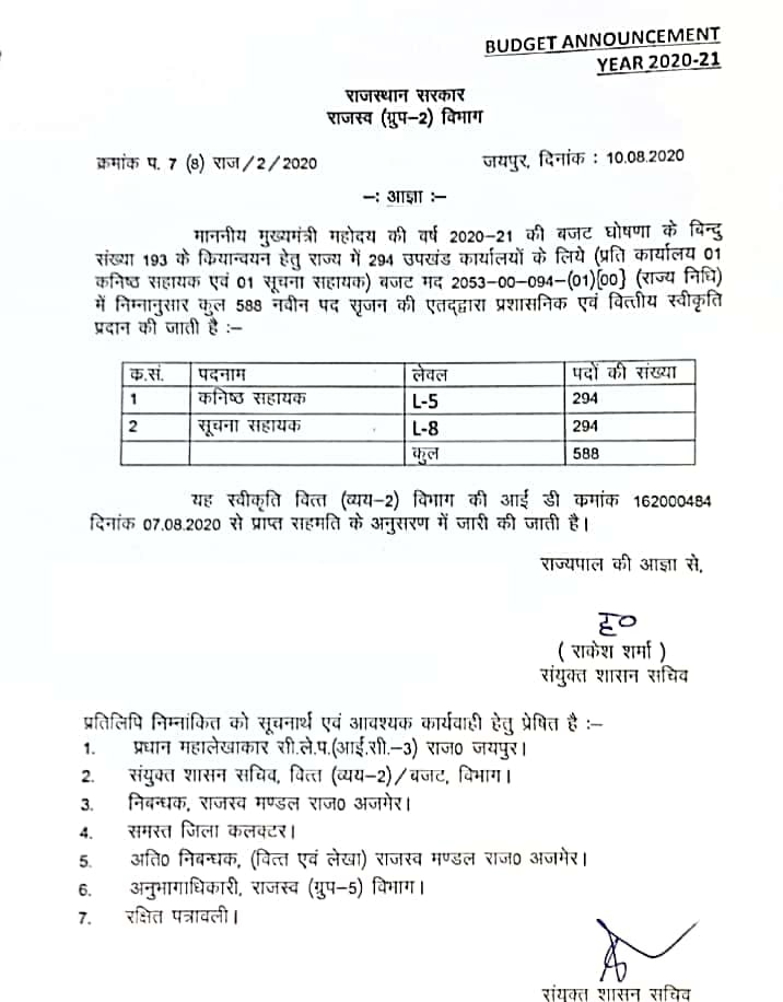 Rajasthan Suchna Sahayak Junior Assistant Vacancy 2020 Information Assistant Bharti Application form
