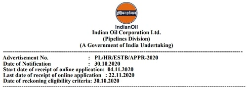 IOCL Recruitment 2020 Indian Oil Corporation Limited Pipelines Apprentice Vacancy