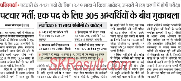 Rajasthan Patwari Admit Card 2021 Download RSMSSB Exam 10, 17, 24 January 2021