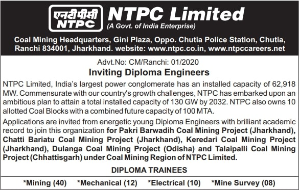 NTPC Diploma Trainee Recruitment 2020 Out- Apply Online Now