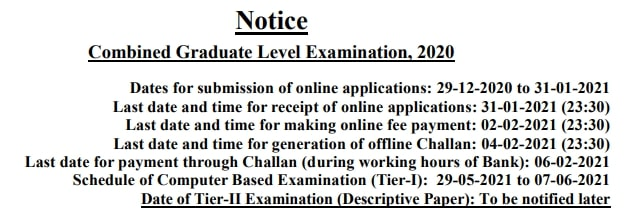 SSC CGL Recruitment 2020 Notification Apply Online form, Exam date