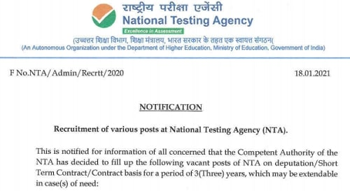 NTA Recruitment 2021 Notification Apply Online form