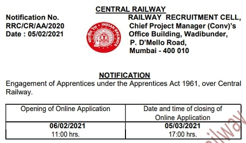 Central Railway Apprentice Bharti 2021 For 2532 Post Notification online form
